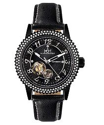 Air Pro black leather diamond watch