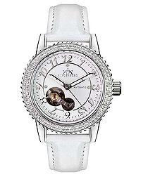 Air Pro white leather diamond watch