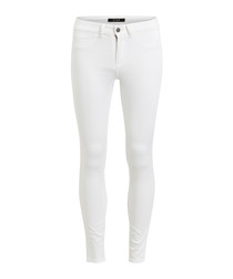 White cotton blend skinny jeans