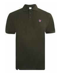 Emblem khaki pure cotton polo shirt
