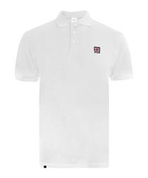 Emblem white pure cotton polo shirt