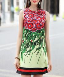 Green & red cotton blend mini dress
