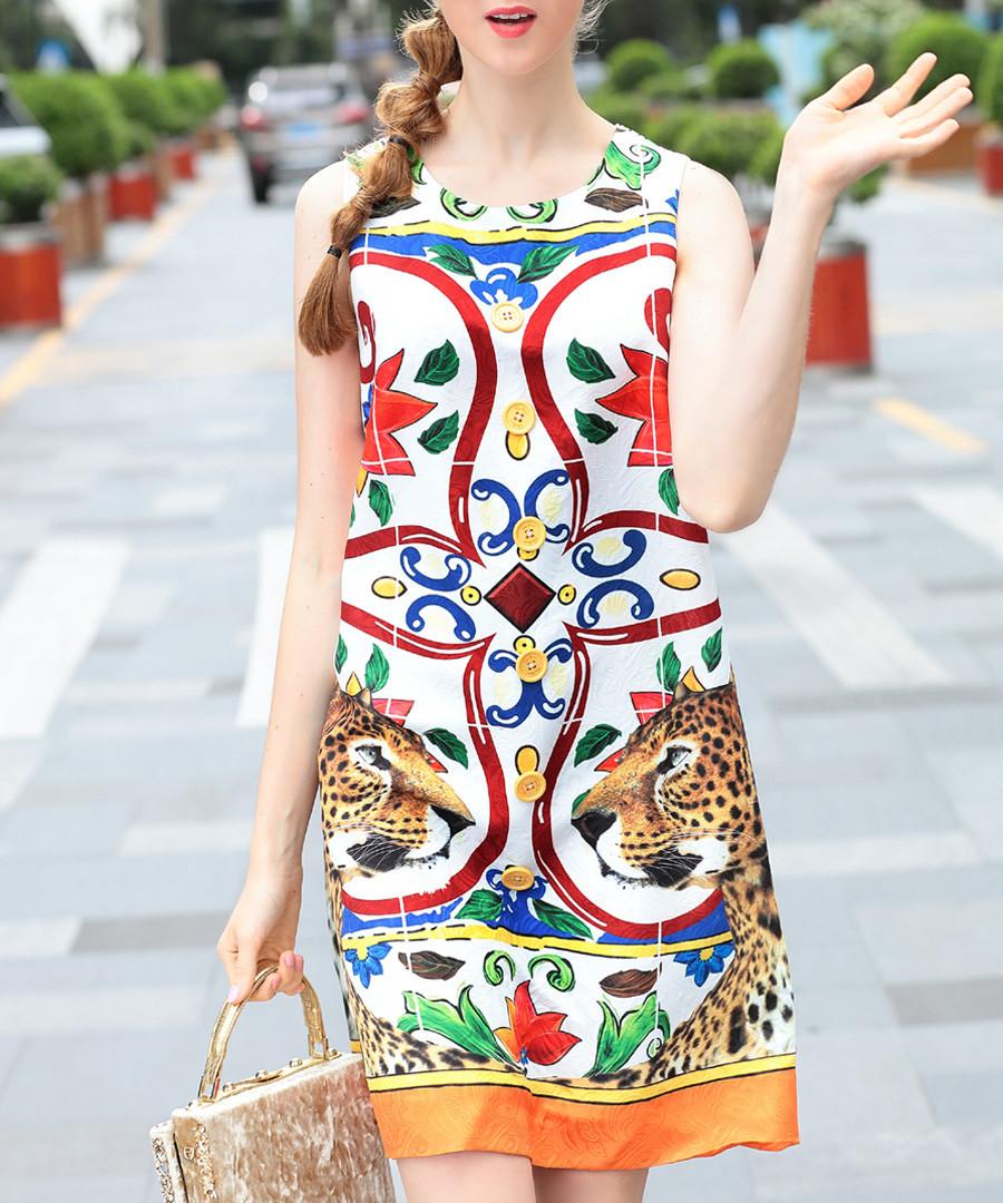 White & red cotton blend shift dress Sale - BURRYCO