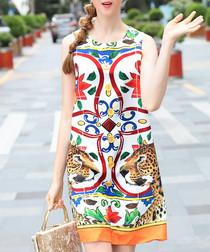White & red cotton blend shift dress