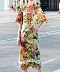 Green cotton blend printed dress