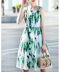 White & green cotton blend print dress