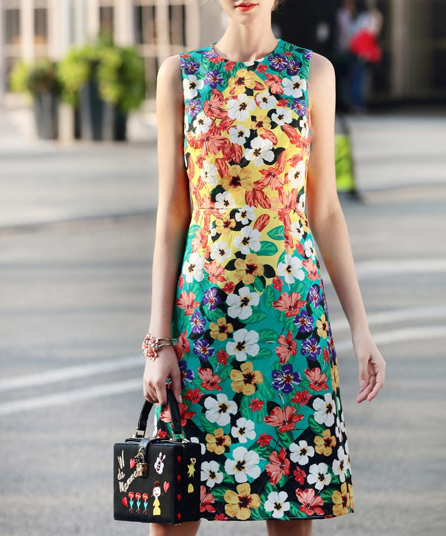 Yellow & teal cotton blend print dress Sale - BURRYCO