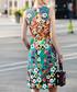 Yellow & teal cotton blend print dress Sale - BURRYCO Sale