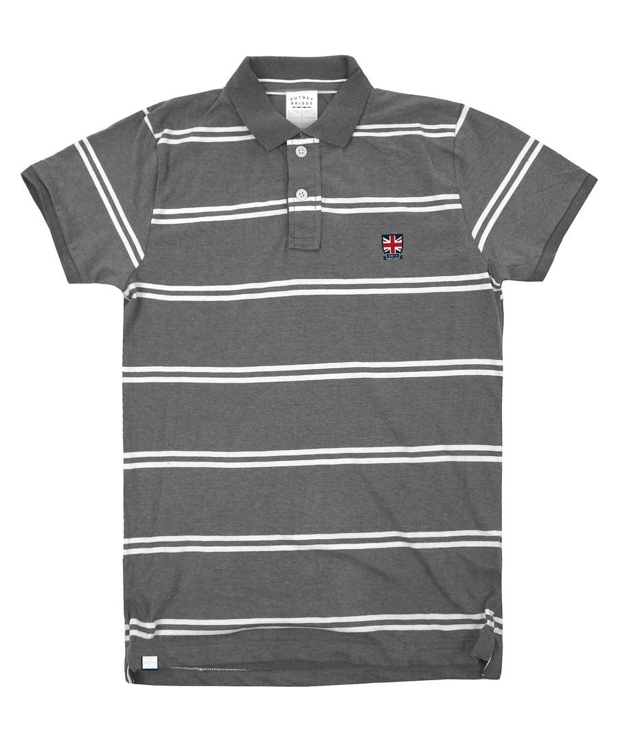 Union Jack grey pure cotton striped polo Sale - putney bridge