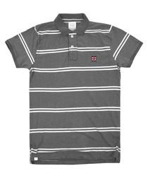 Union Jack grey pure cotton striped polo