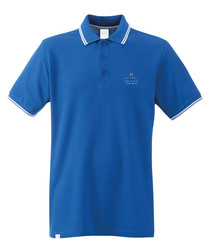 Core Logo blue pure cotton tipped polo