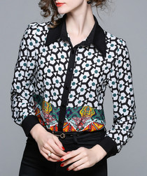 Multi-coloured abstract print shirt