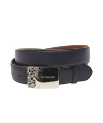 Blue leather logo detail belt