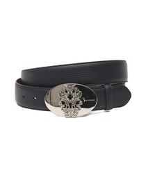 Blue leather textured belt
