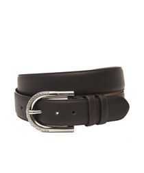 Brown leather engraved detail belt