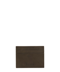 Brown leather embossed card holder