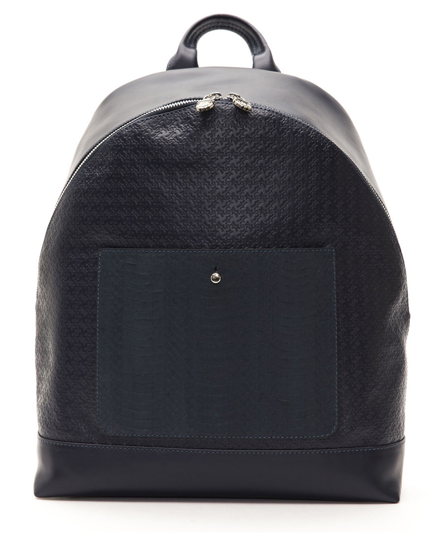 Dark blue leather dual-textured backpack Sale - Billionaire