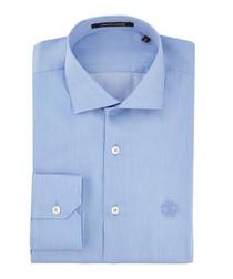 Sky blue pure cotton logo motif shirt