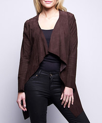 Women's brown leather long jacket