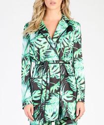 Green tropical print kimono blazer