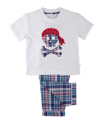 2pc blue pure cotton pirate pyjamas