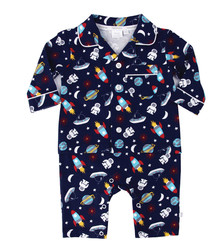 2pc blue cotton blend seaside pyjamas