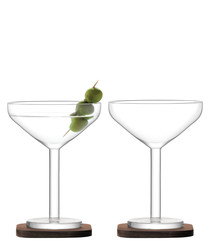 2pc City Bar cocktail glass & coasters