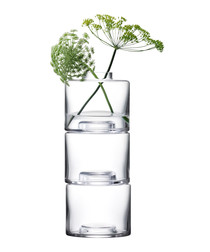 3pc Stack glass vase set