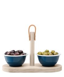 3pc Utility blue wood tapas set
