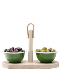 3pc Utility wood & enamel tapas set