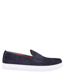 Alphonse navy blue suede loafers