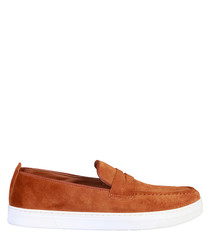 Alphonse tan suede slip-on loafers