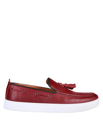Bernard red leather boat shoes