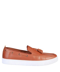 Bernard tan leather boat shoes