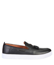 Bernard black leather boat shoes