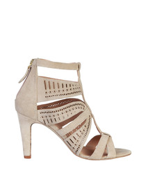 Axelle taupe suede caged heels
