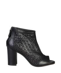 Hermeline black suede peep-toe heels