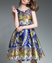 Multi-colour mixed print flared dress