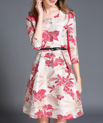 Beige floral belted waist dress
