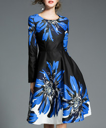 Black & blue floral 3/4 sleeve dress