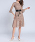 Brown flared sleeve belted waist dress Sale - Kaimilan Sale