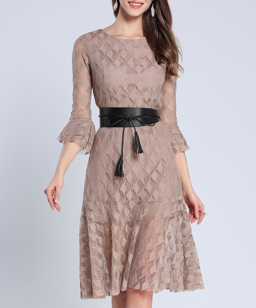 Brown flared sleeve belted waist dress Sale - Kaimilan