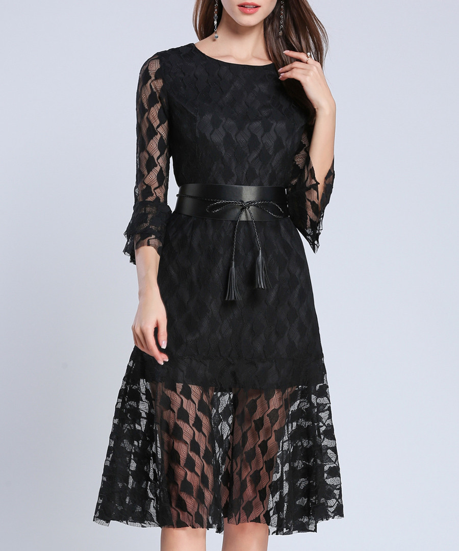 Black flared sleeve belted waist dress Sale - Kaimilan