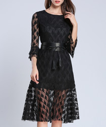 Black flared sleeve belted waist dress