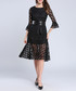 Black flared sleeve belted waist dress Sale - Kaimilan Sale