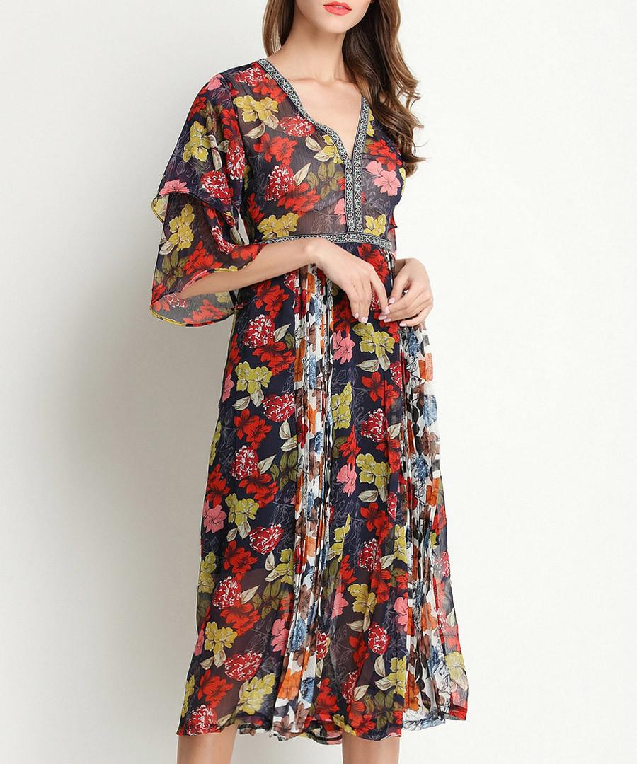 Dark green floral kimono sleeve dress Sale - Kaimilan