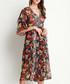 Dark green floral kimono sleeve dress Sale - Kaimilan Sale