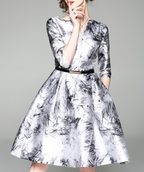 Silver-tone printed belted waist dress