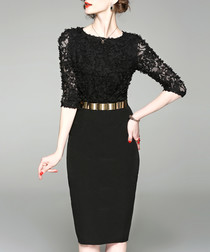 Black lace belted waist dress