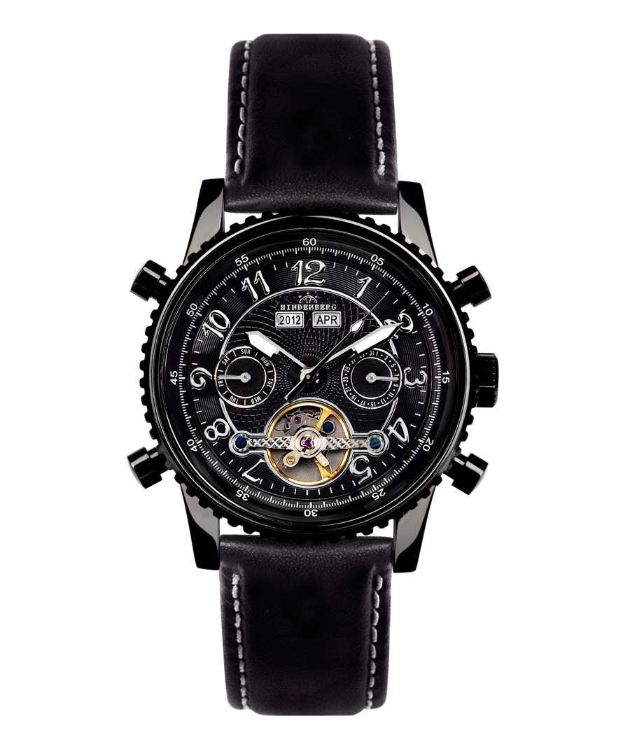 Air Pro black leather watch Sale - HINDENBERG